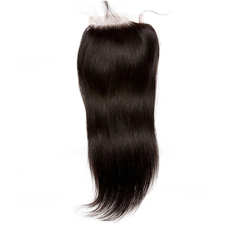 Lace Closure Brazilian Hair With Baby Hair 4x4 Free Part Straight Human Hair Closures Natural Color Honey Queen Remy