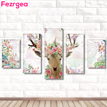 Fezrgea New Arrival 5pc 5D DIY Full Drill Round Diamond Painting Elk Multi-picture Combination Embroidery Mosaic Home Decor