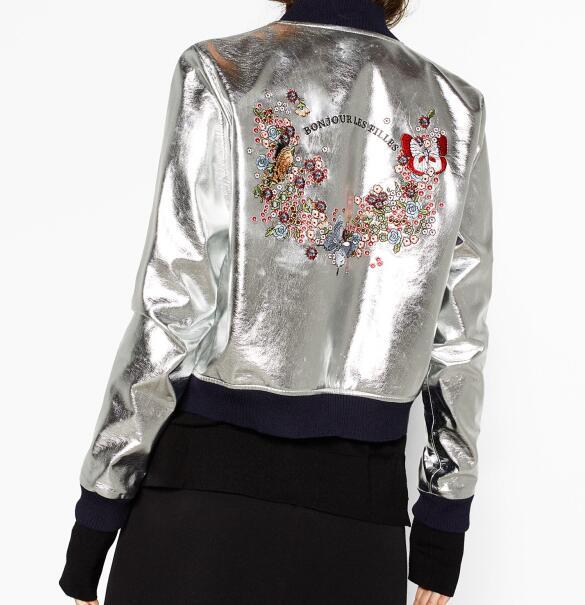 Woman 2016 New Fashion Faux Leather Shimmer Metallic Silver Jacket