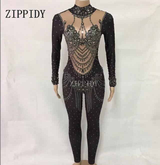 Female Singer Show Stage Rompers Gray Sparkly Crystals Jumpsuit Women s Performance Dance Party Prom Bodysuit