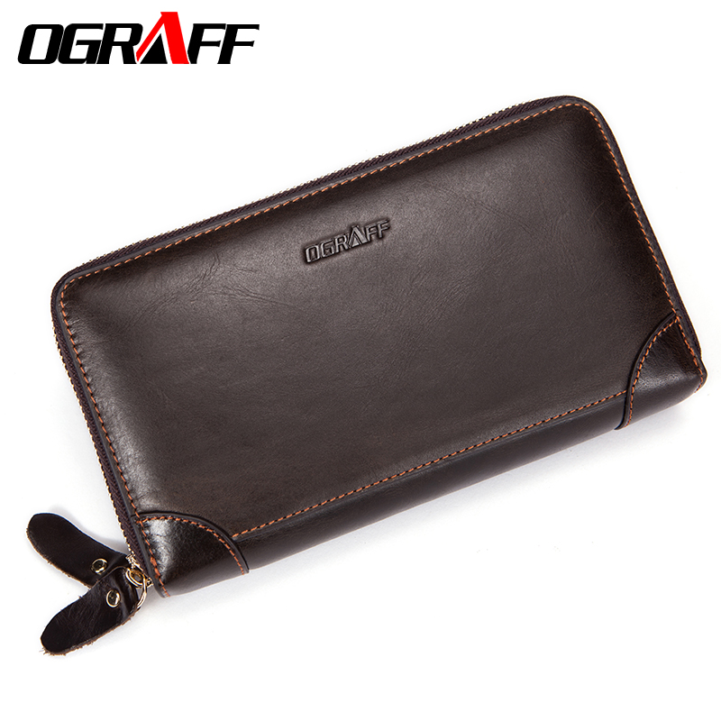 OGRAFF Double Zipper Men Wallet Clutch Bags Men's Purses Genuine Leather Men Wallets Leather Man Wallet Long Money Male Purse simline vintage genuine cow leather cowhide mens men long double zipper wallet purse wallets card holder clutch bag bags for man