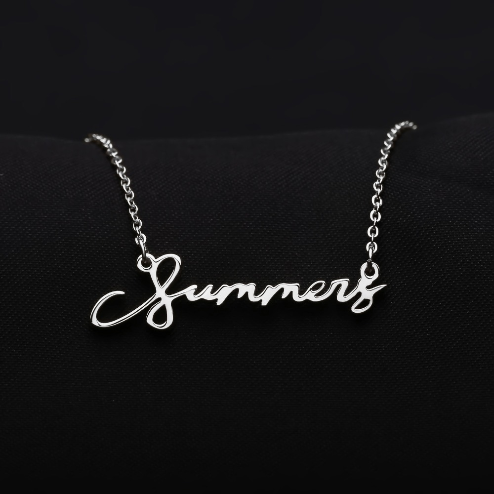 Unique Signature Custom Necklace Gold Color Stainless Steel Personalized Handwriting Necklaces For Gift Nameplate Pendant Choker in Pendant Necklaces from Jewelry Accessories