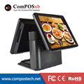 double screen pos all in one touch restaurant casher register machine dual screen pos system with black /white color