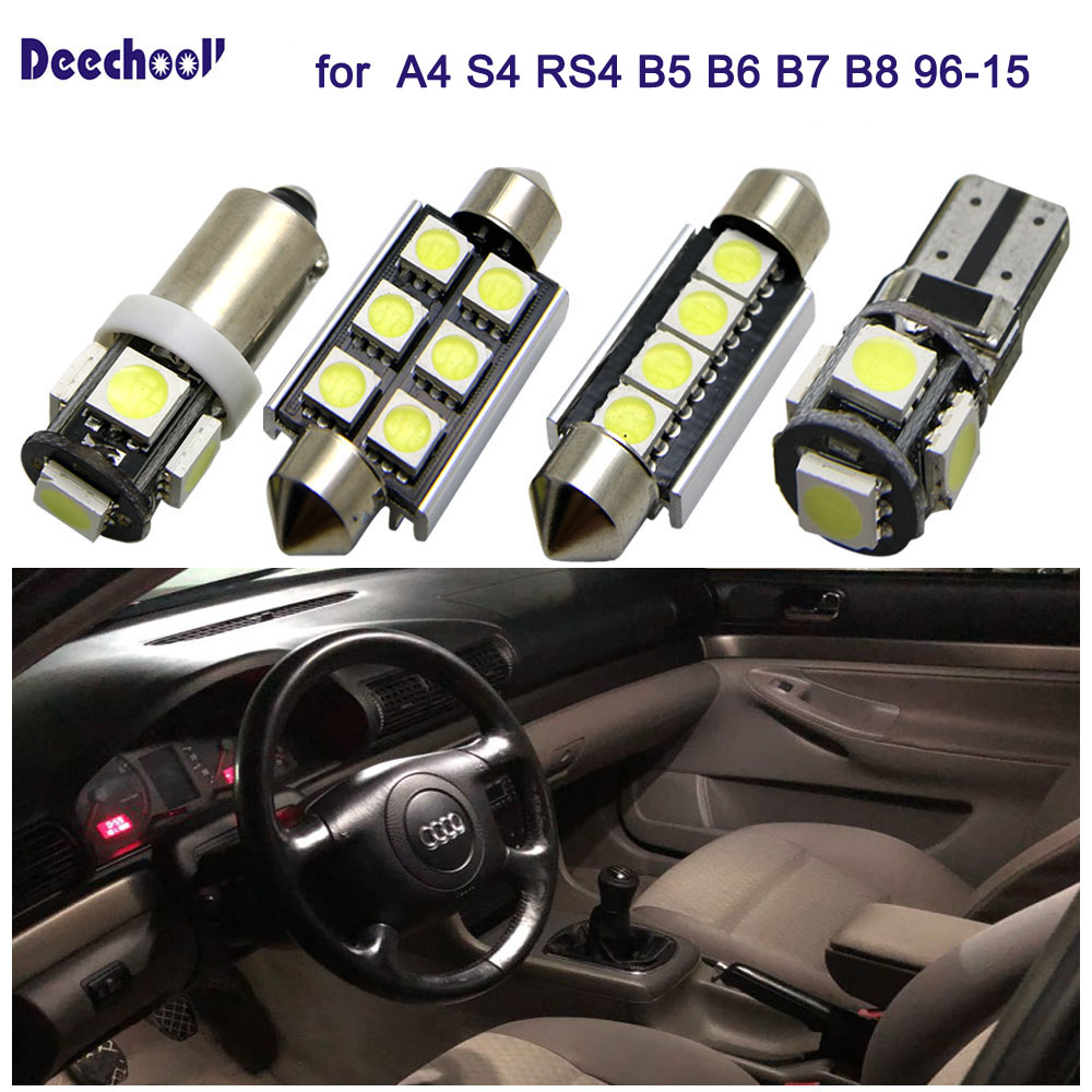 25pcs Car LED Bulbs for <font><b>Audi</b></font> <font><b>A4</b></font> S4 RS4 <font><b>B5</b></font> B6 B7 B8 96-15 Canbus Error Free LED Interior Lighting Dome Map Overhead Light Kit image