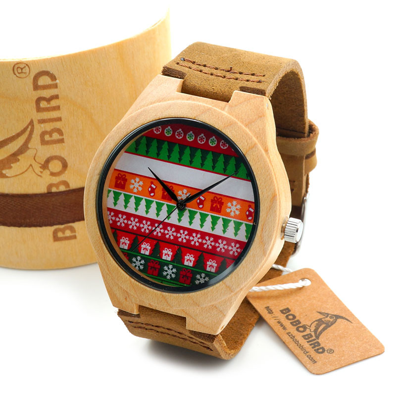 BOBO BIRD Christmas Style Mens Maple Wood Wristwatch Christmas Dial Wood Case Quartz Watch in Gift Box montre homme 2016  avex xpb60 55aw