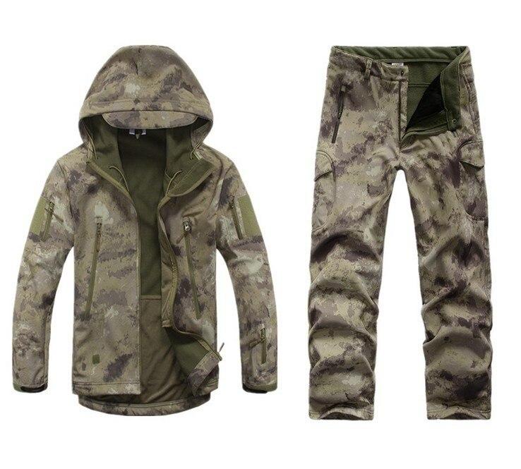 Prix pour En plein air Tactique de Chasse TAD Soft Shell Camo Veste Pantalon Ensemble Mens Armée Sport Étanche Vêtements Militaire Randonnée Veste Pantalon