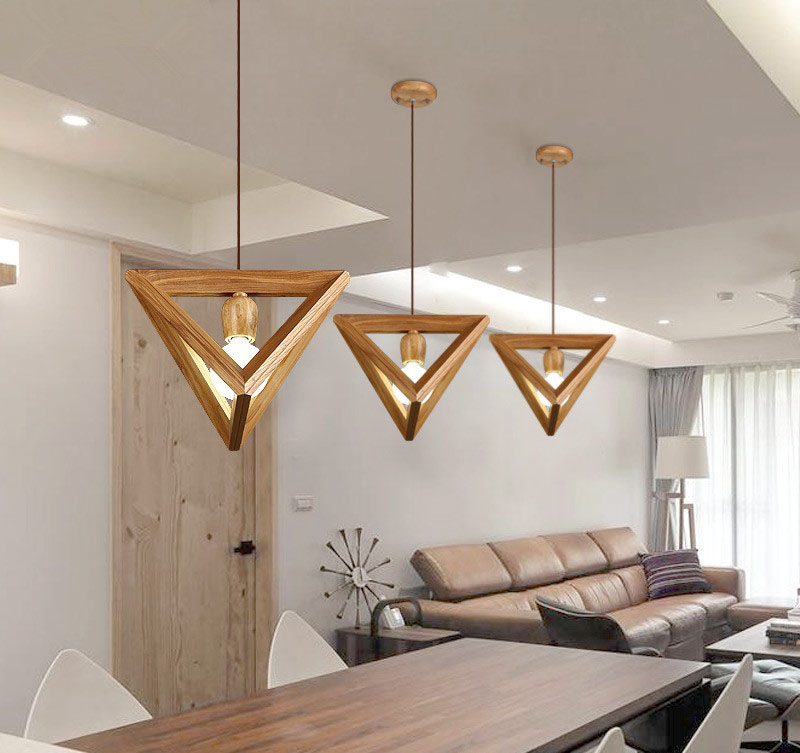 Mordern Nordic Solid Wood Wooden Shuttle Triangle with LED E27 Wood Pendant Lights Droplight Hanging Lamp For Home RestaurantMordern Nordic Solid Wood Wooden Shuttle Triangle with LED E27 Wood Pendant Lights Droplight Hanging Lamp For Home Restaurant
