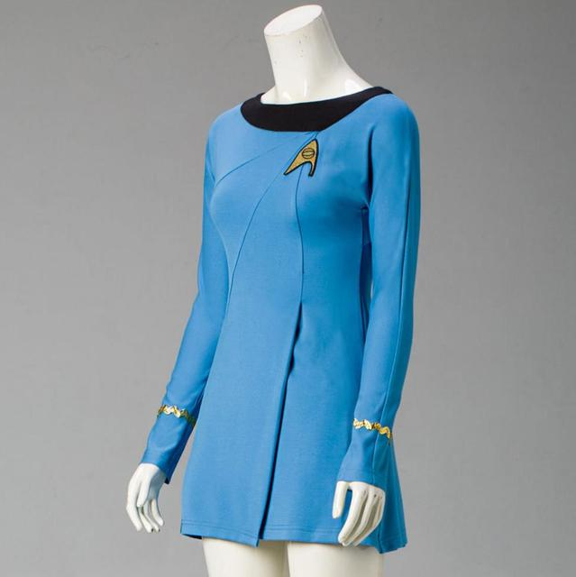 Classic Star Trek Female Duty TOS Blue Uniform Red Dress Cosplay Costume Adult 1