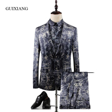 2017 ew arrival style men boutique suits coat business casual flowers pattern three-piece suit (Jacket, Shirt and Pants) M-3XL