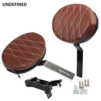 Brown Motorcycle Adjustable Plug In Driver Rider Backrest Pad Kit for Indian Chief Classic Roadmaster 2014 2018 2017 Universal