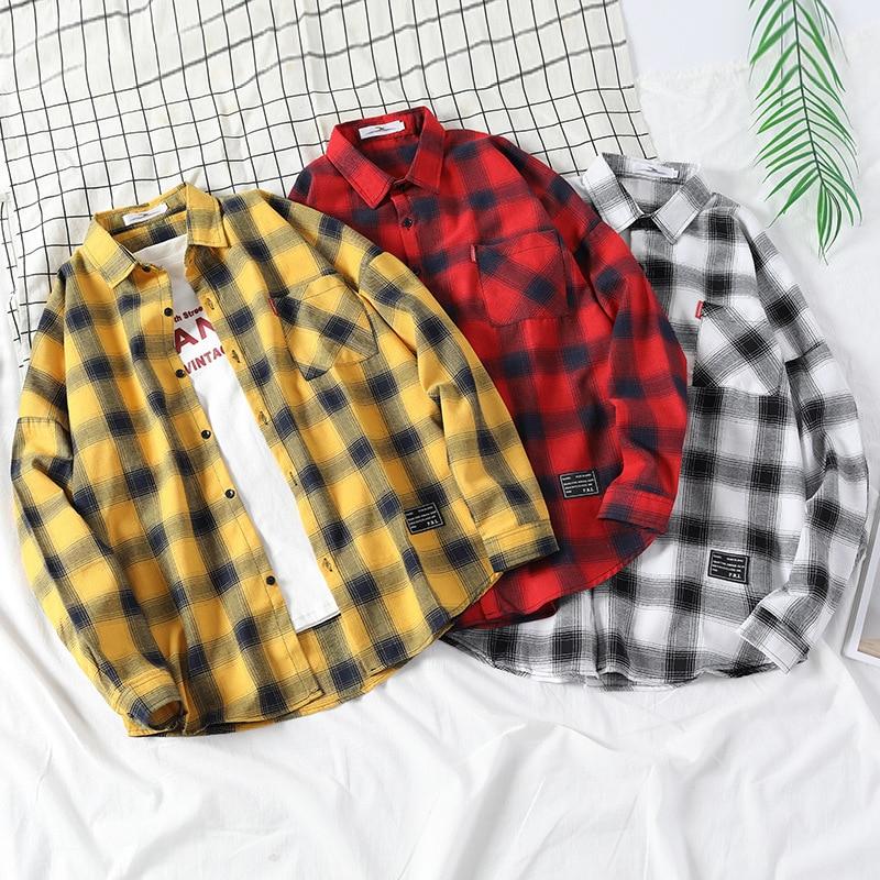 Autumn Winter Plaid Men Shirts Long Sleeve Chemise Homme Mens Long Sleeve Lattice Shirt Mens Casual Shirt Mens Dress Shirts