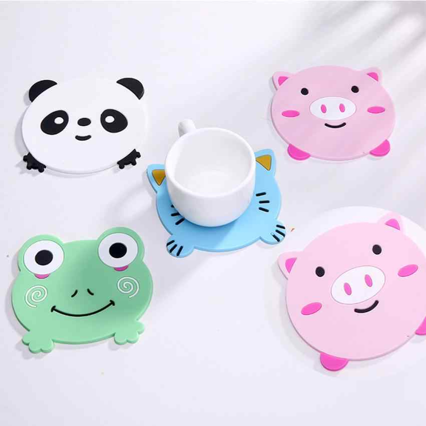 1PC Animal Pattern Silicone Cup Drinks Holder Mat Tableware Placemat heat resistant coaster Pig/kitty/panda/ frog design 30p