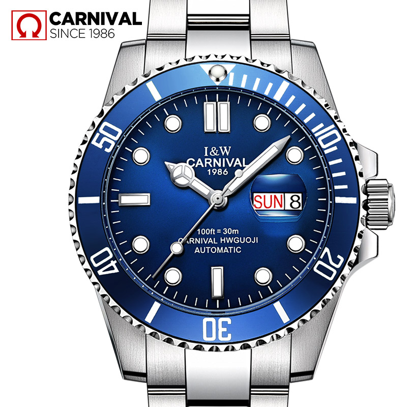 Switzerland Carnival mens watches top brand luxury automatic mechanical wrist watches full steel military diving sports clocks wrist switzerland automatic mechanical men watch waterproof mens watches top brand luxury sapphire military reloj hombre b6036