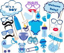 27pcs Photo Booth It Is A Boy Baby Shower Birthday Party Photo Booth Props Newborn Photobooth Birthday Baby shower Blue PB009