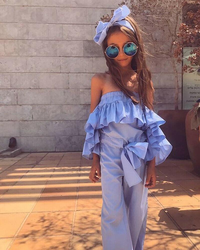 12 M-5 T Zomer Fashion Mouwloze Riem Vlinder Cool Peuter Kids Baby Girl Ruffle Romper Jumpsuit Speelpakje Harem Broek Outfits Goed Verkopen Over De Hele Wereld