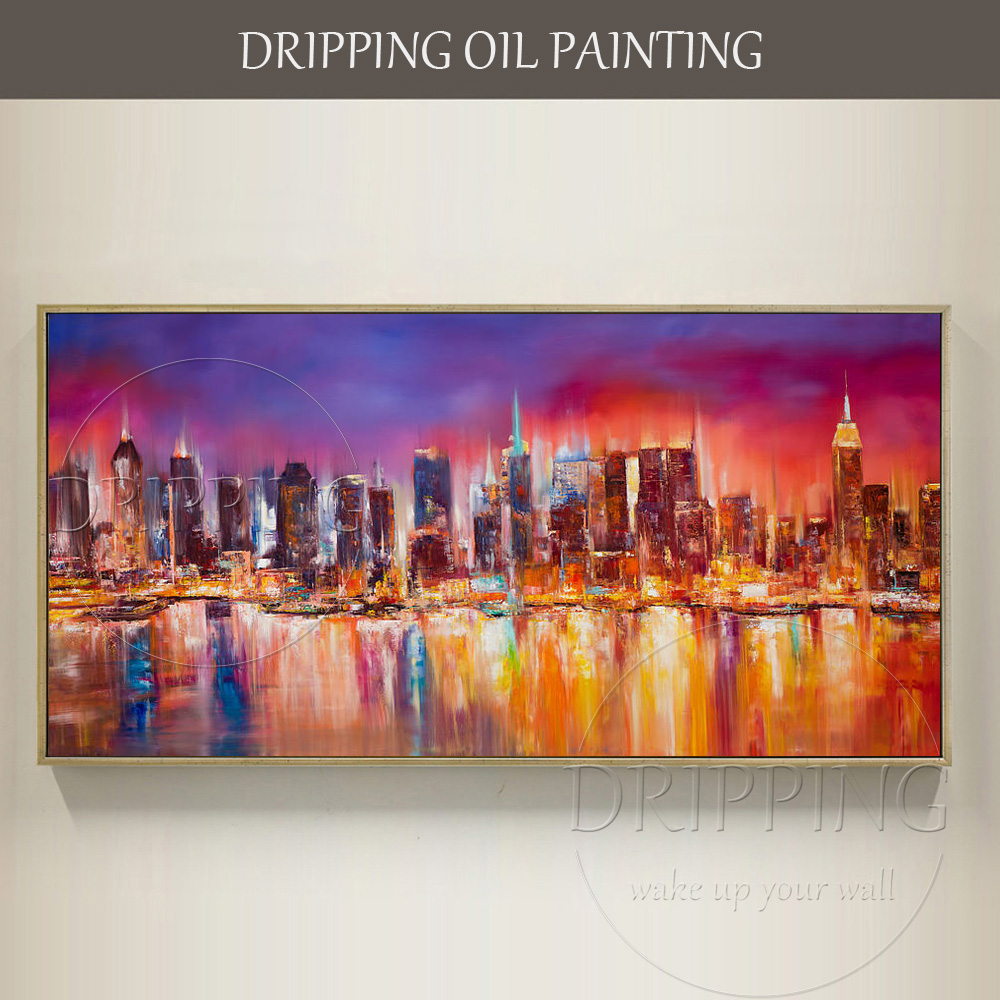 Artist Hand Painted High Quality Vivid Colors Modern Landscapes New York City Skyline Living