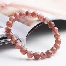 цена Genuine Natural Auralite 23 Red Crystal Round Beads Bracelet Women Men Reiki Stone 8mm Canada Stretch Rarest Bracelet AAAAA онлайн в 2017 году