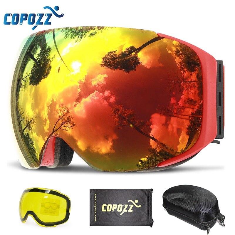 COPOZZ Магнитная лыжные очки с быстрой смены объектива и чехол Комплект 100% UV400 Защита Анти-туман сноуборд очки для Для мужчин и Для женщин