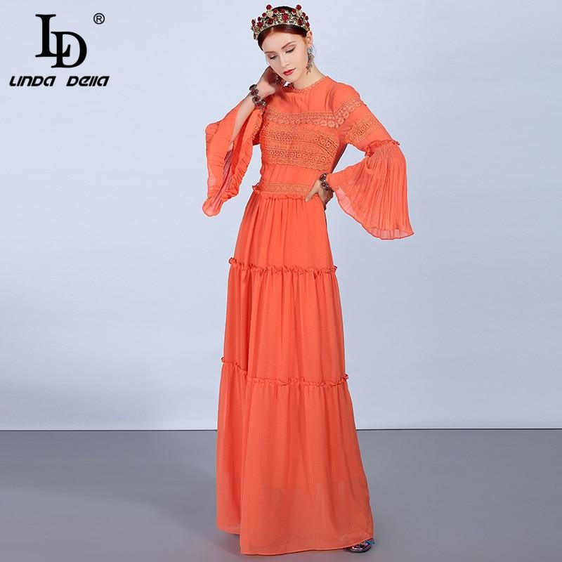 LD LINDA DELLA Printemps de Mode Designer Maxi Longue robe pour femmes Flare Manches Floral Broderie Élégante Partie Solide des vêtements formels