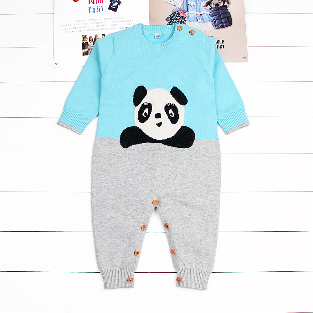 Winter Overalls For Girls Cute Cartoon Panda Knitted Newborn Infant Boys Rompers Toddler Jumpsuits Long Sleeve Children Costumes infant boys girls newborn winter autumn clothing cute fancy dress toddler costumes onesie novelty outfit baby animal romper