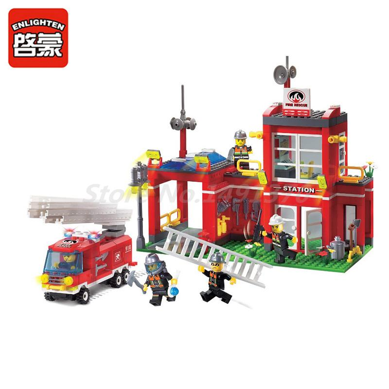 ENLIGHTEN 910 Building Block Fire Rescue Fire Station Model Sets 380Pcs Educational Toys For Children Christmas Gifts 607pcs enlighten building block fire rescue scaling ladder fire engines 5 firemen educational diy toy for children