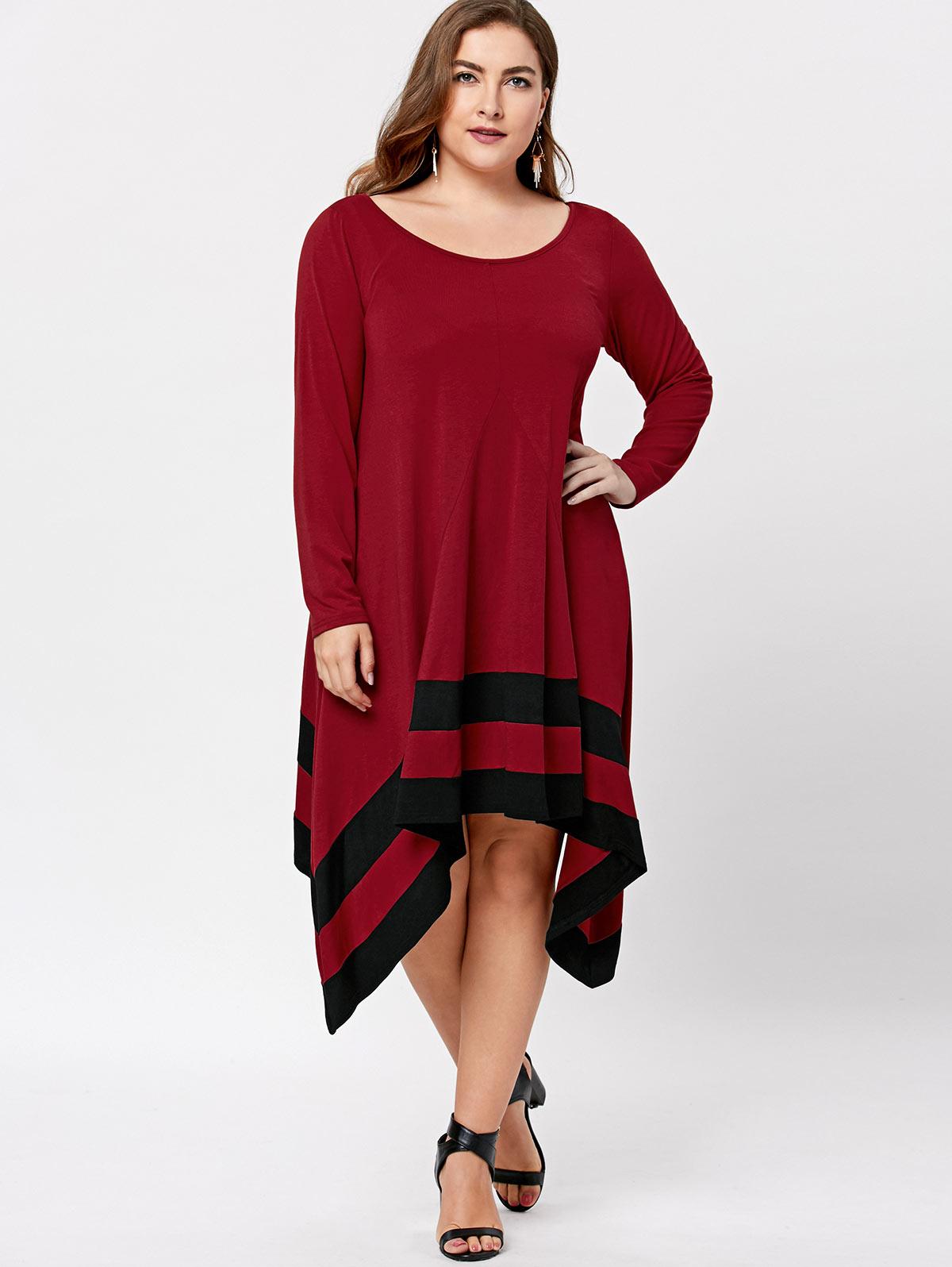 Casual Style Autumn Women Mid Calf Dress solid color Long Sleeve Asymmetric party outwear Dress vestidos Plus Size XL-5XL
