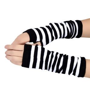 Женские зимние вязаные перчатки в полоску, длинные перчатки без пальцев