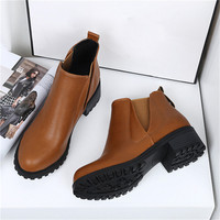 New Womens Winter Ankle Boots Low Heels Fashion Boots Autumn Winter Boots Shoes Woman Casual Botas