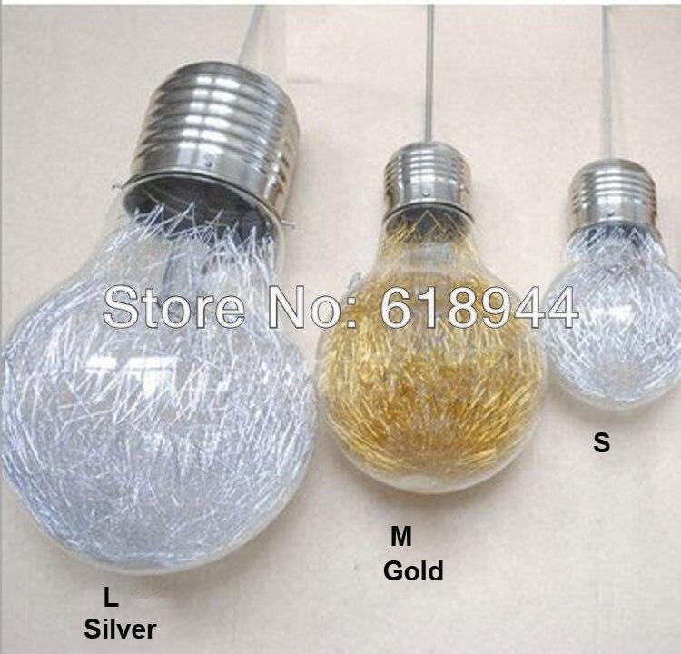 Diamètre 25 cm moyen taille verre big ampoule lampes suspendues, Lampes salle à manger pendentif lumière avec E27 socket