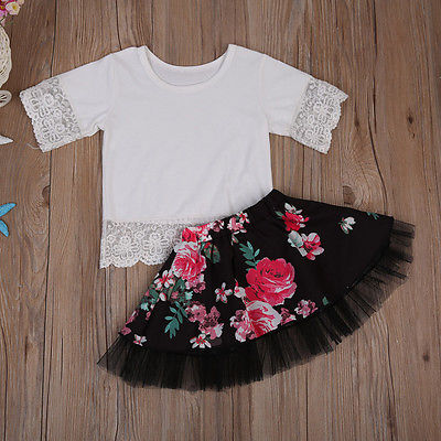 Kids Baby Girl White Lace Tops T shirt+Floral Mini Skirt 2pcs Outfits Clothes Set Summer Long Sleeve Mesh Children Clothing 1-6Y newborn toddler girls summer t shirt skirt clothing set kids baby girl denim tops shirt tutu skirts party 3pcs outfits set