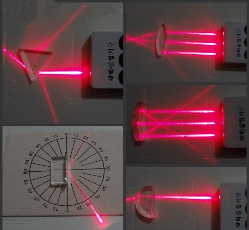 5 pièces Éducatifs prisme en verre Optique ensembles physique spectre lumineux prisme pour primaire/collège base d'enseignement de la physique