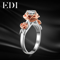 EDI Genuine 1CT Round Moissanite Diamond Rins 14K 585 Rose White Gold Wedding Ring Test Positive