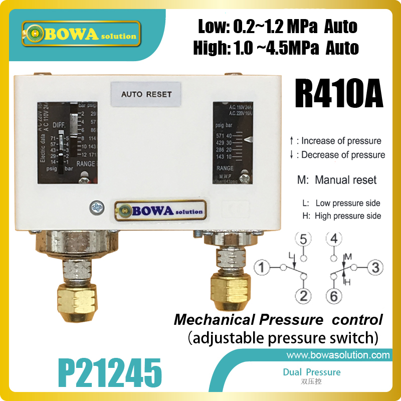 R410a Autoreset dual pressure controls is used to protect compressors in heat pump water heater, clothes dryers and air chambers hvacr adjustable pressure controls espcailly installed in r410a refrigeration system and heat pump equipments