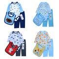3 unids/lote Baby Girl Boy Ropa Romper + Bibs + pant Muchacho Infantil Ropa Roupas Meninos Niños Ropa de Bebes