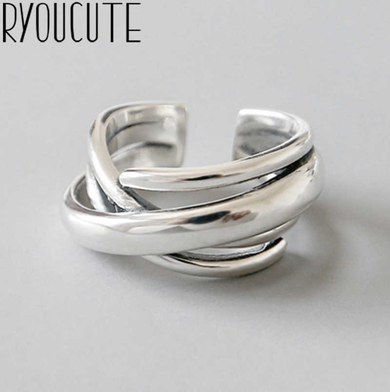 Bohemian Vintage 925 Sterling Silver Geometric Irregular Rings for Women Wedding Adjustable Antique Statement Rings Anillos