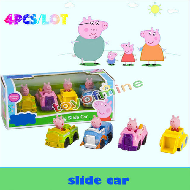 New peppa pig slide car with 4 figures toys birthday xmas gift with box in action toy figures - Jouet peppa pig carrefour ...