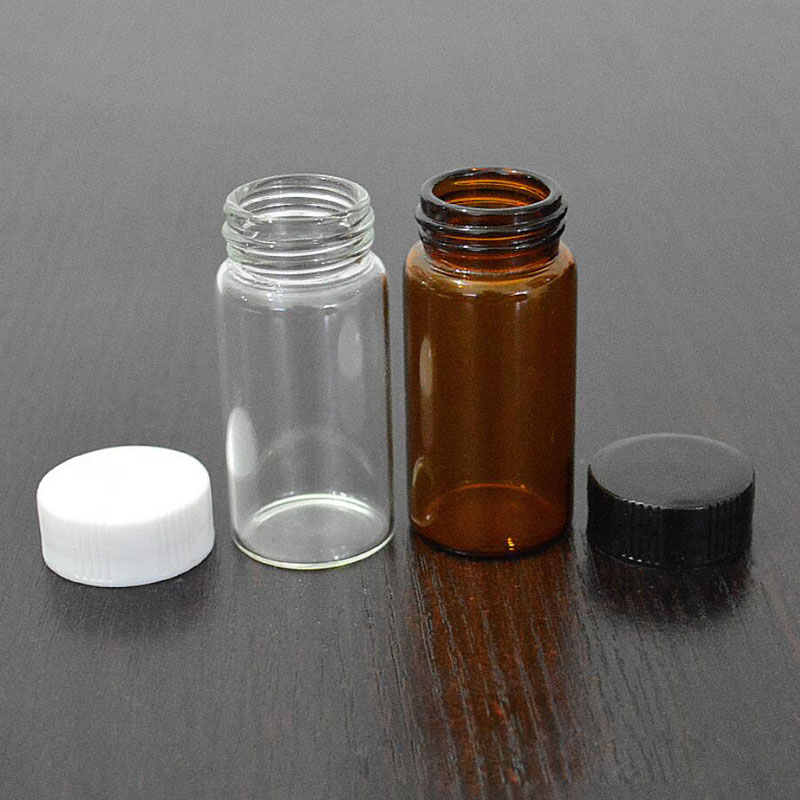 100Pcs 3ml/5ml Glass Clear Amber Small Medicine Bottles Brown Sample Vials Laboratory Powder Reagent Bottle Containers Screw Lid