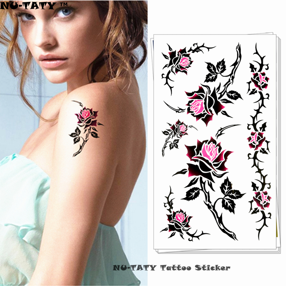 Hot Sale Nu Taty Sexy Purple Rose Style Temporary Body Art Flash