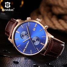 Bestdon reloj deportivo multifuncional para hombre, cronógrafo luminoso Retro, de cuarzo, resistente al agua, de cuero, Masculino