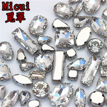 Micui 30PCS Mixed Shape Crystal Glass Stainless Steel Claw Rhinestone Clothing Applique Stones Flat Back Sew on For Dress MC149