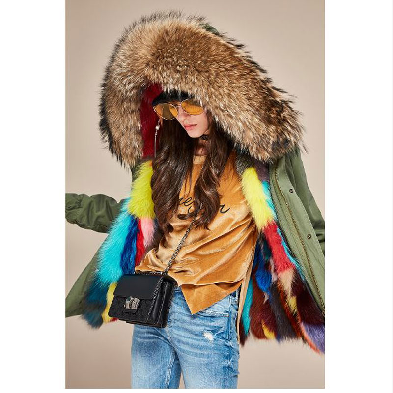 2017 New Women Winter Coat Army Green Thick Parkas Large Real Raccoon Fur Collar Hooded Luxurious  Fox Fur Lining Winter Jacket new army green long raccoon fur collar coat women winter real fox fur liner hooded jacket women bomber parka female ladies fp890