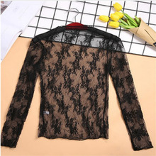 Women Sexy Mesh Lace Shirt Top See Through Ondershirt Base Top Transparante Long Sleeve shirt lace panel scrunch long sleeve top