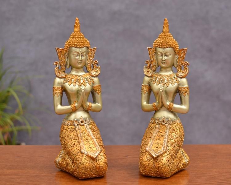 Statue de bouddha de style sud-est asiatique, décor à la maison d'ornement, arts et artisanat de la thaïlande, décoration, cadeaux de mariage.
