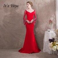 Это YiiYa одежда с длинным рукавом оборками Русалка спинки Бисер Роскошные вечерние труба торжественное платье пол Длина вечерние платья NX028