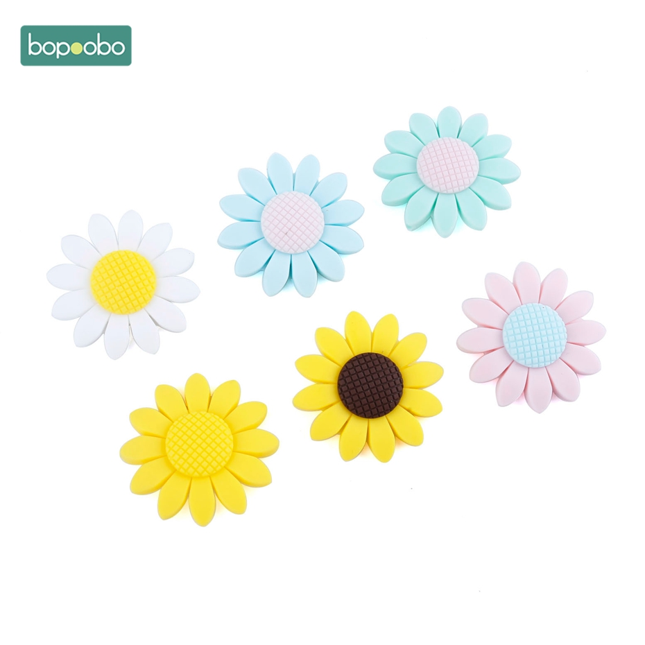 Bopoobo 2pcs Silicone Beads Teething Accessories Baby Bites Necklace Sunflower Shaped Diy Toys Silicone Necklaces Baby Teether