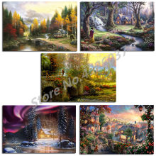 Thomas Kinkade Lady And The Tramp HD Printing Christmas Bedroom Wall Art Artwork Print Pictures For Living Room Home Decoracion(China)