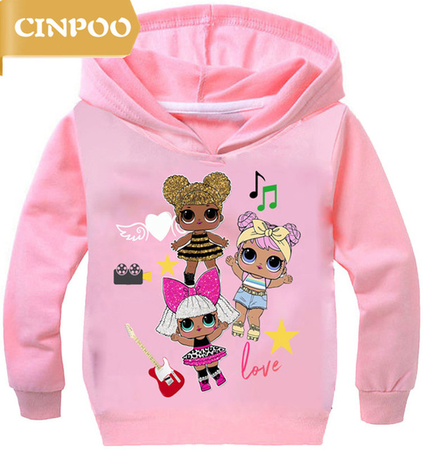 269550997 CINPOO 2018 Child Sports L.O.L Surprise Dolls Girls Hoodie Autumn Cartoon  kids Pullover Long Sleeves Hoody Sweatshirts