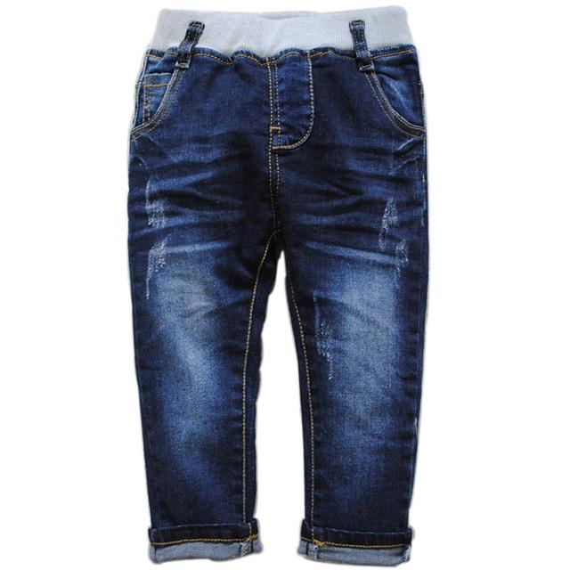 6048 детские джинсы мальчиков джинсы случайные брюки темно-синий весна или осень дети девушки брюки детские моды ницца нью-