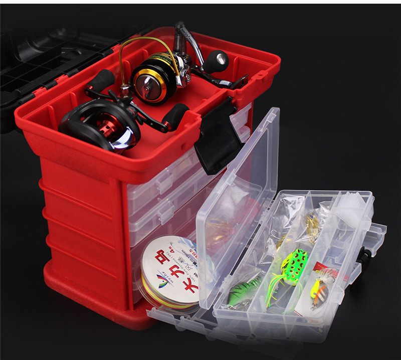 New 4 Layers Fishing Tackle Box Strong ABS Plastic Fishing Tools Container Big Fishing Accessories Box 27x17x26cm 4 Colors (24)