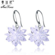 2018 New arrival ice snow flower design 925 sterling silver ladies Drop snowflake earrings jewelry birthday gift wholesale(China)
